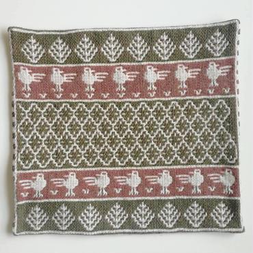 ヤノフ村の織物 クッションカバー 鳥と幾何学模様(42×40cm) #2211