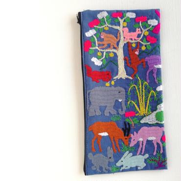 ラオス モン族の両面手刺繍ファスナーポーチ 動物の楽園(青)11