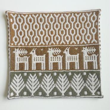ヤノフ村の織物 クッションカバー 鹿と幾何学模様(42×40cm) #2213