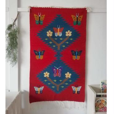 メキシコ オアハカの織物 ティオティトランの羊毛タペテ 蝶と花 (60×102cm)