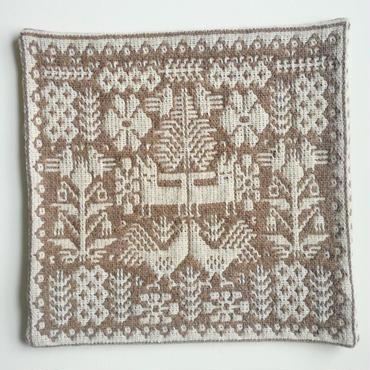 ヤノフ村の織物 クッションカバー 鳥とキツネと幾何学模様(40×40cm)#2157