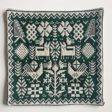 ヤノフ村の織物 クッションカバー 鳥とキツネと幾何学模様(40×40cm)#2155
