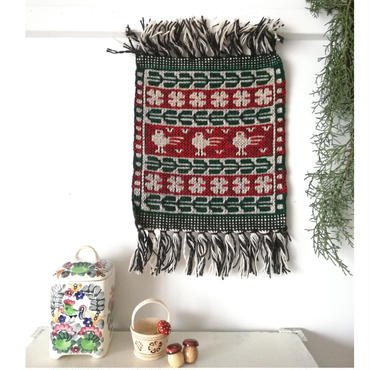 ヤノフ村の織物 タペストリー 小鳥と幾何学模様(22×24cm) #2352