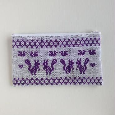 オアハカの手織り サン・マテオのポーチ(L) トリ、リス、シカ