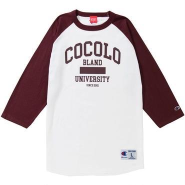 COCOLO UNIVERSITY RAGLAN TEE (WHITE/MAROON)