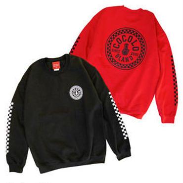CHECKER BONG CREWNECK SWEAT (BLACK&RED)