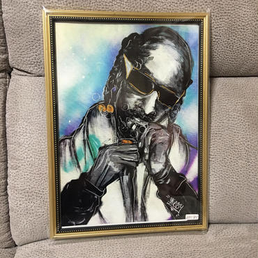 Paint Smoke Snoop Print A4(Gold Flame)