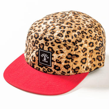 SQUARE LOGO LEOPARD 5PANELS CAP(RED)