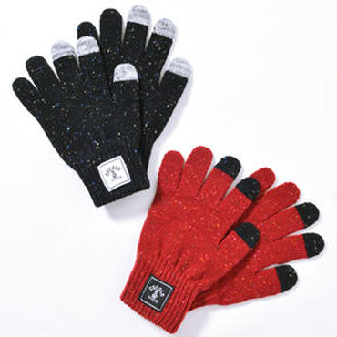 SQUARE LOGO NEP KNIT GLOVE (BLACK&RED) [For Smart Phone]