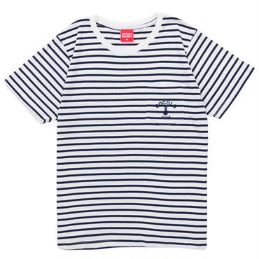 FLOCKY BORDER POCKET S/S Tee (NAVY)