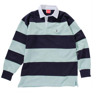 EMBROIDERY BONG STRIPE RUGBY SHIRT(AQUA/NAVY)