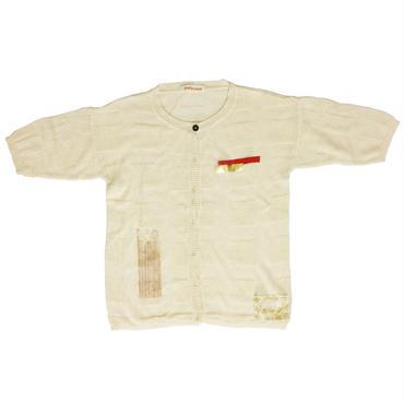 格子リンクス柄5分袖カーデ