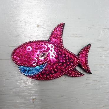 サメ スパンコール刺繍 ステッカー