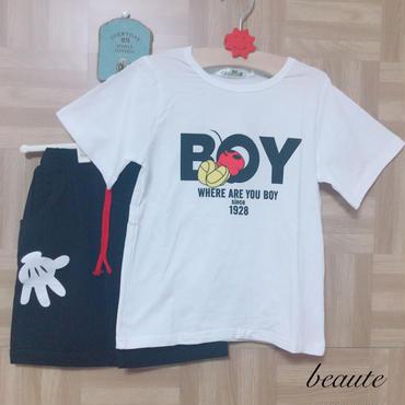 ミッキー風プリントTシャツ+パンツセット
