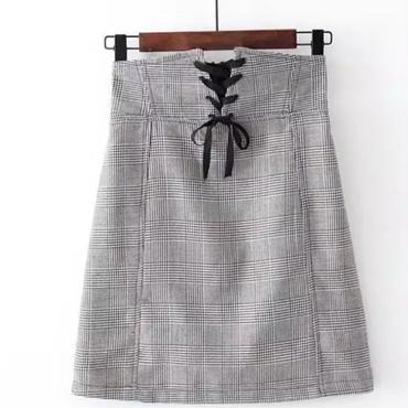 【予約】チェック柄リボンミニスカート