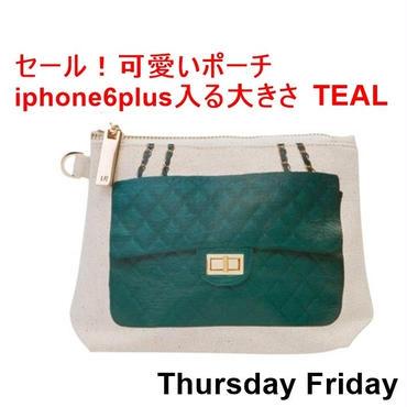 ThursdayFriday サーズデ―フライデー アメリカ の お洒落な プリント ポーチ TEAL iphone6plus入る 大きさ スペシャル セール ハンドバッグ 海外 ブランド
