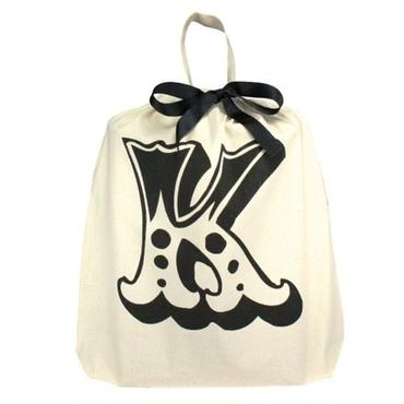 Bag all イニシャルバッグ 頭文字 K ケー 布製 折りたたみ エコバッグ 軽量 生成り バック レディース メンズ 男女兼用 ブランド