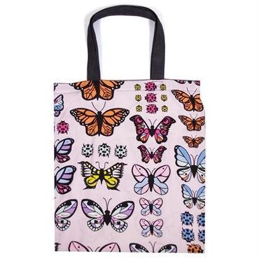 Valfre ヴァルフェー エコバッグ たためる布製 アメリカ かわいい 裏布付き トートバッグ 蝶々柄 エコロジー 軽い グレー