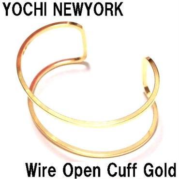 Yochi NEWYORK ヨキ ニューヨーク バングル Wire Open Cuff ゴールド 幅広 太 シンプル 軽い 海外ブランド