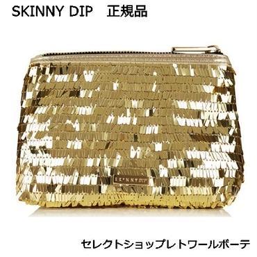 skinnydip スキニーディップ GOLD SEQUIN MAKE UP BAG ゴールド 海外 ブランド