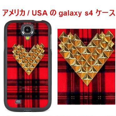 WILD FLOWER ワイルドフラワー アメリカ スタッズ ギャラクシー s4 ケースTartan Gold Studded Heart Samsung Galaxy S4 Case エス フォー