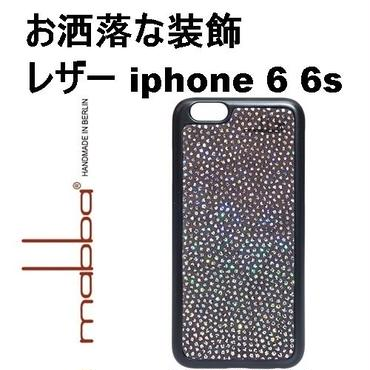 mabba マッバ ドイツ 光の反射で キラキラ 装飾 レザー iPhone 6 Case Diamond Rain aus echtem Leder black 本革 アイフォン シックス ケース