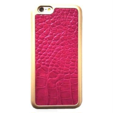 mabba マッバ 本革レザー iphone6 iphone6s ケース クロコダイル柄 ピンク ゴールド ハード 保護フィルム付き 女性 上品