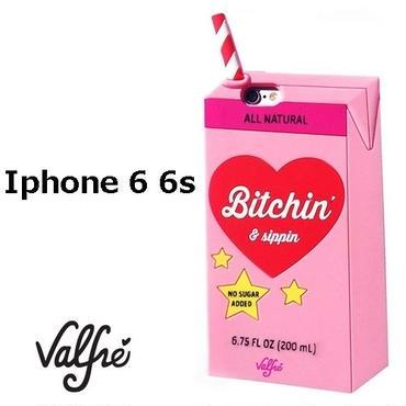 Valfre ヴァルフェー 立体 BITCHIN SIPPIN 3D IPHONE 6 6S CASE PINK iphone6 ケース ストローパック シリコン おもしろ おしゃれ ブランド