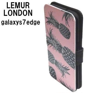 galaxys7edge ケース ギャラクシーs7エッジ カバー 手帳型 パイン lemur ピンク おしゃれ