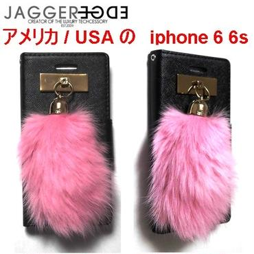 JAGGER EDGE ジャガーエッジ アメリカ 2つ折り カード入れ ウォレット Butterfly smart wallet HOTPINK bunny charm iphone 6 6s ケース
