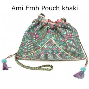STARMELA スターメラ 英国 ハイセンス 刺繍 ポシェット レディース Ami Emb Pouch khaki カーキ マルチ ショルダーバック 肩掛け おしゃれ 巾着 海外 ブランド