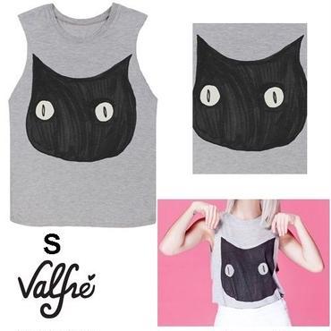 Valfre ヴァルフェー アメリカの 可愛い 黒猫 Tシャツ S サイズ BRUNO catTshirt ネコ トップス ノースリーブ レディース かわいいねこ 猫グッズ 海外 ブランド
