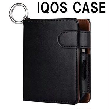iqos2.4plus対応のアイコスケース アイコス2.4プラス対応 いろいろ収納できる手帳型 iQOSカバー ブラック 黒 PU アイコスのケース