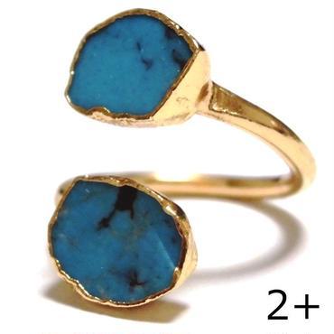 LuxDivine ラックスディバイン アメリカ 指輪 2+ ターコイズリング トルコ石リング ターコイズブルー ゴールド アーム 天然石 アクセサリー 海外 ブランド