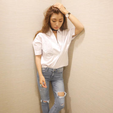 【ladies】チョーカー風ドルマンシャツ