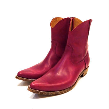 The Letters : Western Leather Side Zip Pointed Boots