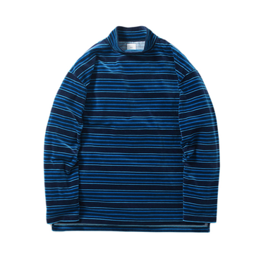 Name. : MULTI STRIPE VELOUR MOCK NECK L/S TEE