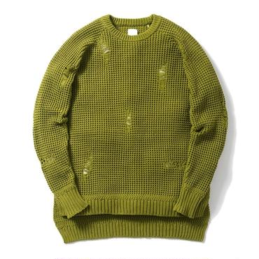 Name. : COTTON KNIT SWEATER DAMAGED EFFECT