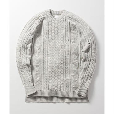 Name. : CABLE JACQUARD DAMAGED SWEATER
