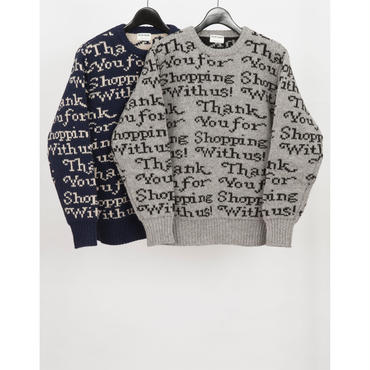 MAINTENANT : THANK YOU BAG GRAPHIC KNIT CREW NECK SWEATER
