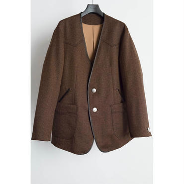 The Letters : Western Collarless Concho Jacket. - Gabardine Wool -