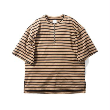 Name. : MARINE-STRIPED HALF ZIP OVERSIZED TEE