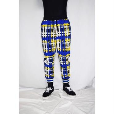 TAAKK : HAND-PAINTED CHECK JARSEY RIB PANTS
