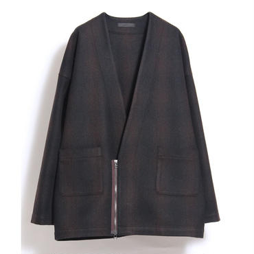 JUHA : ZIP FRONT CARDIGAN (CHECK)