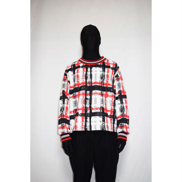 TAAKK : HAND-PAINTED CHECK JARSEY P/O SHIRT