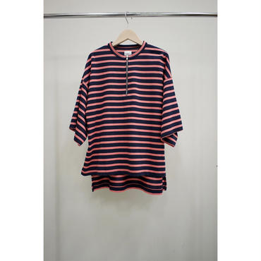 Name. (ladies) : MARINE-STRIPED HALF ZIP OVERSIZED TEE