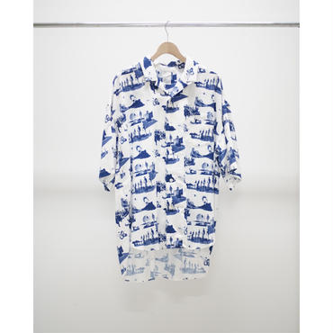 Name. : SPACE PATTERNED OPEN COLLAR SHIRT