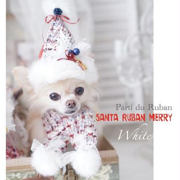 santa Ruban WHITE 雪柄モチーフ付お帽子とマフラーの2点セット
