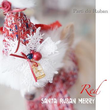 santa Ruban merry RED 雪柄モチーフ付お帽子、マフラーの2点セット