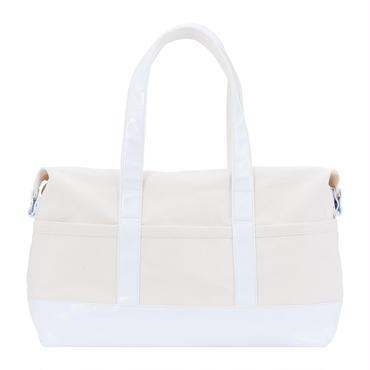 帆布×エナメルボストンバッグ(ホワイト)